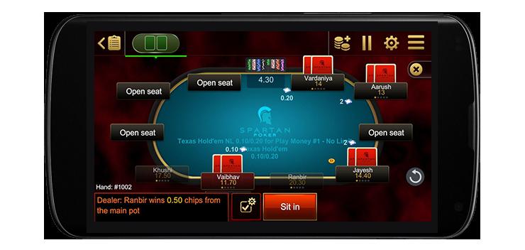 Мобильное приложение Spartan Poker